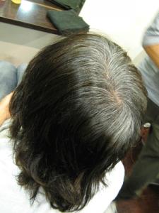 インディゴ塗布前ビフォーです。かなり前にヘアマニキュアをしている