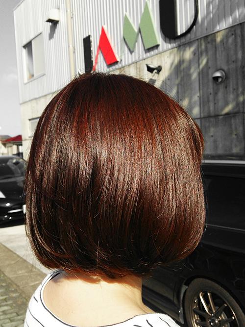 8レベルのレッドブラウン髪