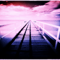 桟橋が海に延々と伸びている写真